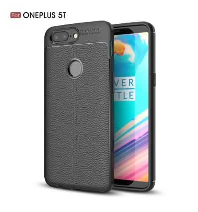 Coque OnePlus 5T Style cuir texture litchi