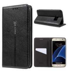 Housse Samsung Galaxy S7 Cuir texture litchi - Noir