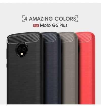 Coque Motorola Moto G6 Plus Carbone brossée