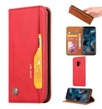 Housse Samsung Galaxy S9 Leather Wallet - Rouge