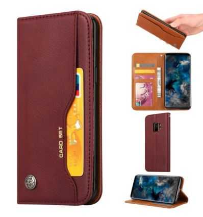 Housse Samsung Galaxy S9 Leather Wallet - Vin rouge