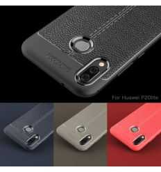 Coque Huawei P20 Lite Style cuir texture litchi