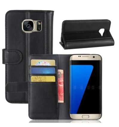Housse Samsung Galaxy S7 Edge Cuir Premium - Noir