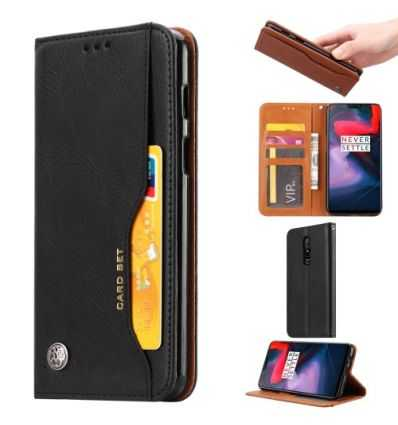 Housse OnePlus 6 Portefeuille cuir stand case